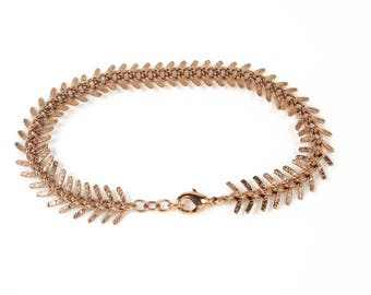 gold/ rose gold feather chain fishbone chain leaf chain textured bracelet