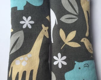 Animals- Car Seat Strap Covers/ Stroller Strap Covers/Reversible Strap Covers