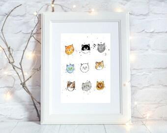 Cat Face Print, A4 Print Cat art