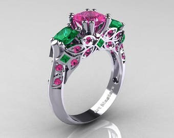 Classic 14K White Gold Three Stone Princess Pink Sapphire Emerald Solitaire Ring R500-14KWGEMPS