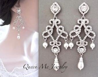 Pearl earrings,Pearl chandelier earrings,Long Swarovski pearl earrings,Art deco pearl earrings,Crystal chandelier wedding earrings