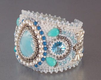 Summer sale Free Shipping , Bead Embroidery, Bracelet, Statement cuff, Seed bead bracelet, Silver, Blue, White, Larimar gemstone,