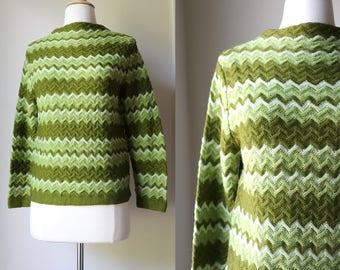 1960s 1970s Acrylic Green Zigzag Jantzen Sweater