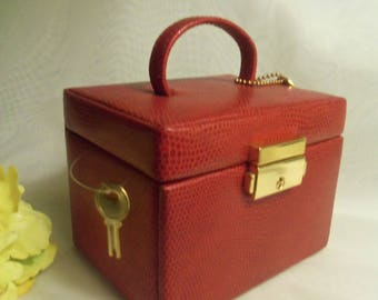 Gorgeous Vintage NEVER USED Red Leather Locking Jewelry Travel Case with Key & Lock Suitcase Mini Case- Birthday Gift Mom Mother Her Wife