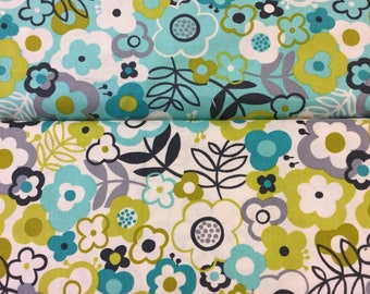 Makower lime twist large floral available in 2 colours by the Half Metre