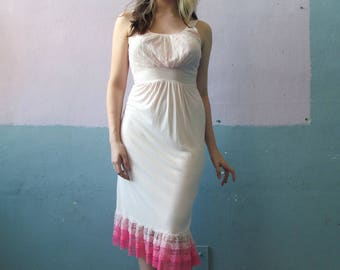 Vtg 50s 60s Pink Tiered Ruffle Hem Slip Dress / Myra Joy