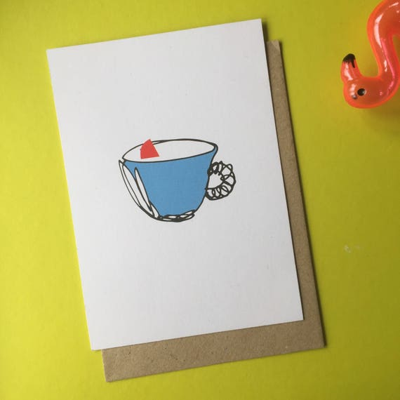there is something in your tea postcard