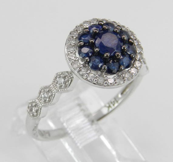 14K White Gold Diamond and Sapphire Cluster Engagement Ring Size 7 September Gem