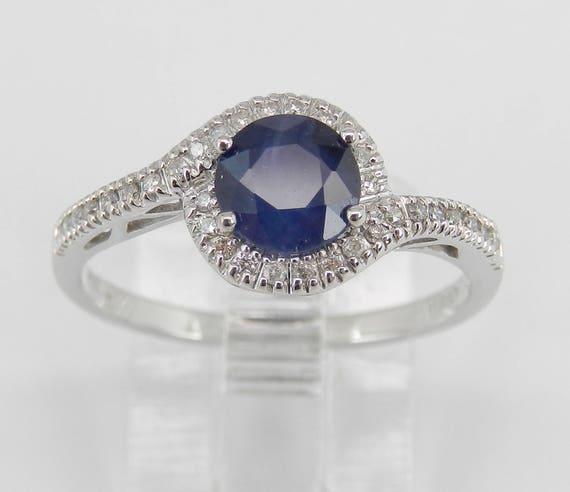 Diamond and Sapphire Halo Engagement Ring White Gold Size 7 September Birthstone
