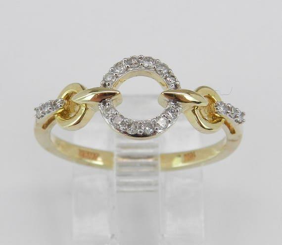 Modern Diamond Circle of Life Ring Anniversary Band Yellow Gold Size 7