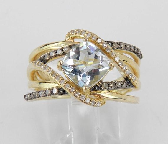 Aquamarine and Fancy Diamond Engagement Ring 14K Yellow Gold Size 7 Cushion Aqua