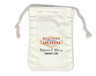 Las Vegas Wedding Personalized Cotton Bags - Ivory Fabric Drawstring Bags - Set of 12 (1048)