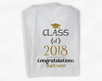 Class of 2018 Personalized Treat Bags - Set of 25 Black & Gold High School Graduation Party Custom Favor Bags in School Colors (0214)