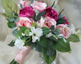 Boho Bouquet Silk Flower Wedding Bridal Peony Rose