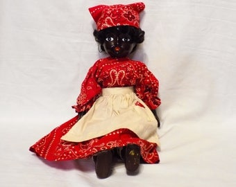 Beautiful Antique African American Procelain Doll - 17""