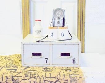 Vintage Metal File Drawer - File Cabinet - Antique White