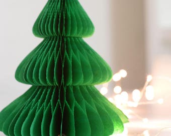 Vintage style Christmas tree - paper honeycomb decorations - various sizes - custom colors - Xmas decorations / home decor - holiday season