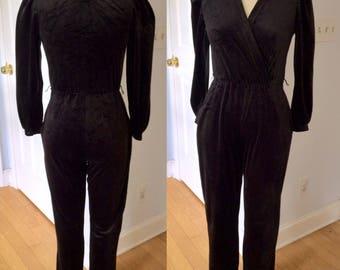 70s 80s Velour Jumpsuit, Black Fuax Wrap Surplus V Neck 1980s 1970s Long Romper High Waist Pockets