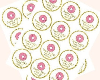 Printable Instant Download Pink Gold DIY Donut labels, favor tags etc 1st birthday party or baby shower
