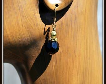 Black Glass Earrings, Black Czech Glass Earrings, Faceted Glass Earrings, Czech Glass Earrings, Black Dangle Earrings