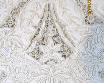 RESERVED Antique Madeira Hand Embroidered Linen Tablecloth 12 Napkins 68 x 102  ELABORATE