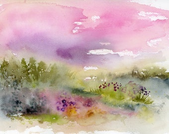 Original Watercolor Painting, Landscape, Fine Art, Nature, Modern Art, Ink, Minimalist, Garden Floral, Abstract Art, Bohemian
