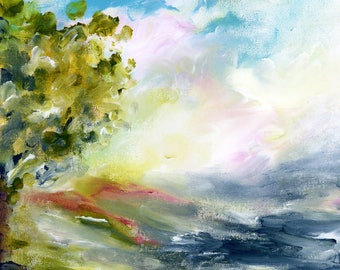 Modern Art, Original Landscape Painting,  Square Art, Lake Art, wrapped canvas, Original Art