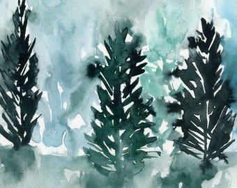 Abstract Landscape Art Print, Winter, Landscape Painting, Trees Print, Modern Art, contemporary, Minimalist