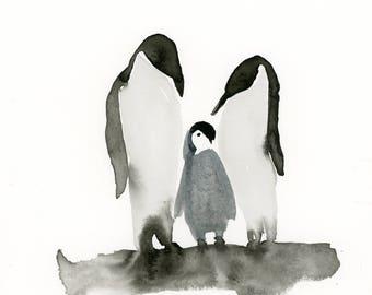 Penguins Watercolor Print, Animal Painting, Winter Art Print, Kids Decor, Black and White Art, Teen Art, Wall Decor