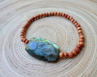 Labradorite and sandalwood mala stretch bracelet - delicate stack bracelet wooden beads and flashy stone