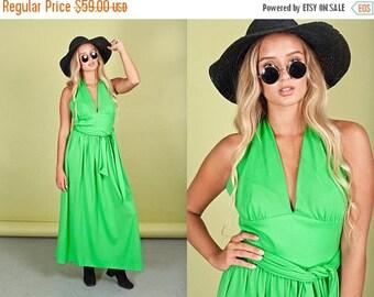 FLASH SALE 70s Apple Green Dress Vintage Bright Long Halter Maxi Dress