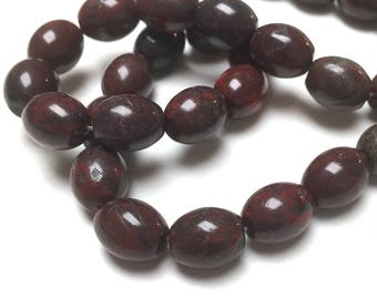 Brecciated Jasper Oval Beads. Opaque. Dark Red. Gemstone Beads. Center Drilled. 8mm x 10mm. Full 15-16 Inch Strand.