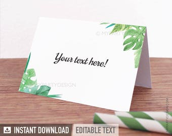 Bridal Shower Food Labels - Place Cards - Tropical Engagement Party - Greenery - INSTANT DOWNLOAD - Printable PDF with Editable Text (WED08)