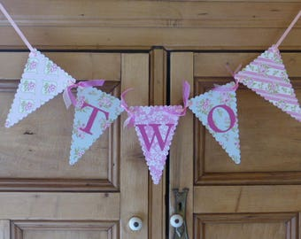 Second Birthday Tea Party Bunting - TWO Banner - Two Year Old Girl - Pink, Blue, Pastel, Floral