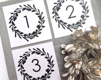Printable Table Numbers  |  Instant Download PDF - Printable Table Numbers  |  Table Numbers Template  |  Modern Wreath Collection