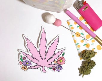 Pink Weed Flower vinyl sticker
