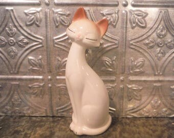 Siamese cat figurine Mid Century Modern kitsch,tan and brown, retro cat, cat statue, cat lover, vintage Siamese cat