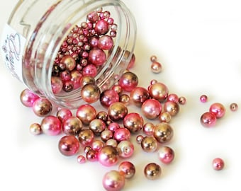 Reneabouquets Beautiful Beads ~ Iridescent Pearls In Color Rose Gold Choose Your Size .6 oz Jar or 1.6 oz Jar