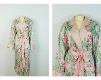 Vintage Dressing Gown Robe 80s Victoria's Secret Pink Floral Paisley Satin Belted Robe Large