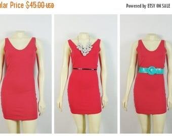 SALE Vintage Dress 80s Betty Blue Hot Pink Stretchy Dress Simple & Cute Size Stretch Cotton Medium Modern Medium to Large