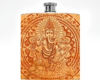 Hip Flask Ganesh Elephant Hip 6oz Stainless Steel Boho Buddhist Hindu India Drinking College Party Zen Womens Mens Gift Hip Flask Ganesha