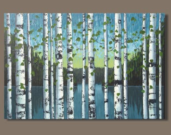 FREE SHIP abstract birch trees painting, landscape painting, tree painting, birch trees, aspens, aspen trees, lake with trees, sunrise