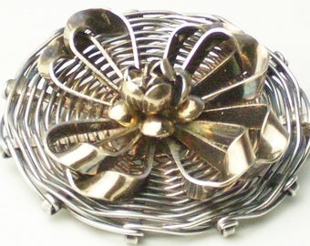 RARE 1940s HOBE Sterling Silver 14K Gold Demi Parure Vintage Bracelet Brooch Earrings Fine Jewelry Gift For Her on Etsy
