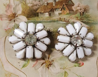 Signed Weiss Milk Glass and Rhinestone Clip Earrings
