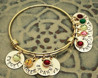 Personalized Mom Bracelet - Gold Hand Stamped Bracelet - Mothers Bracelet - Birthstone Bracelet - Mothers Day from Husband