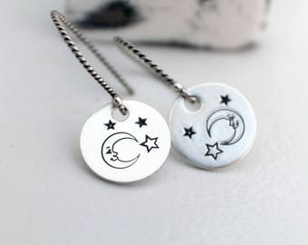 Moon and Stars Earrings - Hand Stamped Earrings - Moon Stamped Earrings - Moon & Stars Dangle Earrings - Moon Star Jewelry Gifts under 25