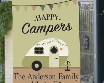 Personalized Camper Flag, Any Message Garden or House Flag, Happy Campers, Home is Where you Park it, Campsite decor