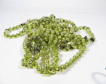 Vintage Chartreuse Green Glass Bead Garland - Chartreuse Green Glass Garland