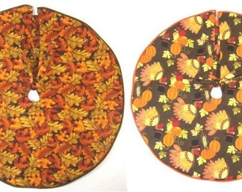 "Fall / Thanksgiving MINI Tree Skirts ~ 15"" ~ Leaves or Turkeys"