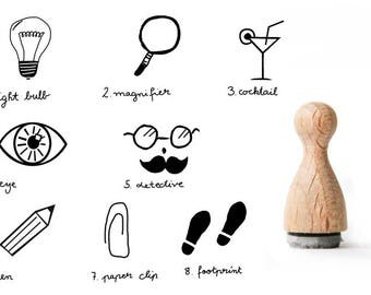 Detective Tiny rubber stamp, Light Bulb Rubber Stamp, Notice rubber stamp, Footprint rubber stamp, magnifier rubber stamp, boys rubber stamp